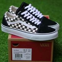 Sepatu Vans Primary Checkerboard Old Skool Black White / DT Waffle