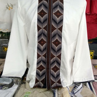 Baju Koko Lengan Panjang Bordir Semi Sutera