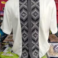 Baju Koko Lengan Pendek Bordir Semi Sutera