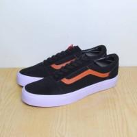 Sepatu Vans OldSkool - Hitam List Coklat (GRADE ORIGINAL) FREE BOX
