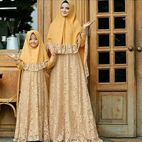 Couple Naura Brukat + Jilbab Baju Muslim Ibu dan Anak Gamis Syari