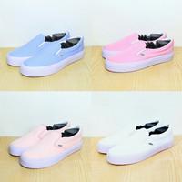 Sepatu Vans Slip On - Biru Pastel, Pink, Peach, Putih