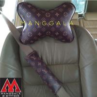 Bantal Headrest Mobil & Cover Sarung Seatbelt Safety Pad LV Coklat
