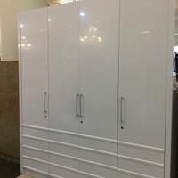 Lemari Baju Pakaian 4 Pintu Putih Minimalis ukuran 200