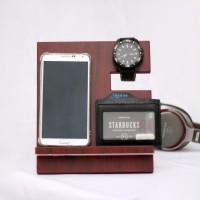 Handphone / Smartphone Docking / Wood Stand / Pajangan Kayu Maroon