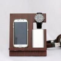 Handphone / Smartphone Docking / Wood Stand / Pajangan Kayu Cokelat