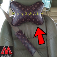 Bantal Headrest Sandaran Kepala Mobil LV Coklat