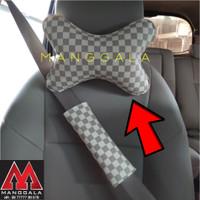 Bantal Headrest Sandaran Kepala Mobil LV Kotak Cream