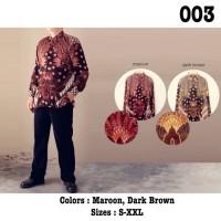 BAJU BATIK MURAH XL Kemeja Batik Semi Sutra Lengan Panjang Pria Modern