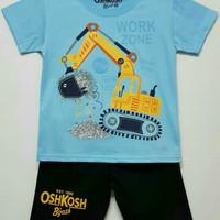 baju setelan anak laki work zone excavator alat berat