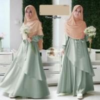 4707 gamis hijab maxmara spandek anggun hijau soft pastel murah bergo