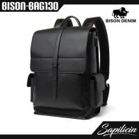 Tas Ransel Kulit Sapi Asli Usb Port Bison Denim Backpack BISON-BAG130