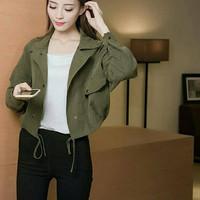 Jaket wanita baju korea jepang atasan outer luaran jacket hijau army