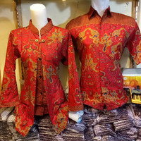 Baju batik couple atasan Merah China   BATIK PASANGAN