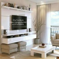 Backdrop TV putih minimalis+ meja gantung, floating desk elegan, murah