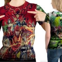 Kaos T-Shirt  Wanita  Custom  Justice League Mode 02 Full Print