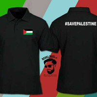 Kaos polo shirt save palestina - Baju kerah bela palestine