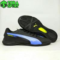 Sepatu Futsal Dewasa Puma Evo Speed Hitam List Biru Spesial Edition