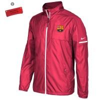 Jaket Windberaker Merah tahan Air dan Tidak panas Logo Barcelona