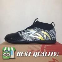 DribbleShop Sepatu Futsal Specs Heritage IN Black Gold White 400750 O