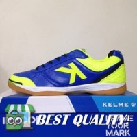 DribbleShop Sepatu Futsal Kelme K-Strong Royal Blue Lime 55787 Origin
