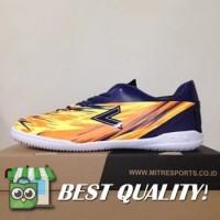 DribbleShop Sepatu Futsal Mitre Flare IN Navy Hex Orange T01040014 Or