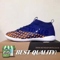DribbleShop Sepatu Futsal Mitre Invader IN Navy Citrus Orange T010400