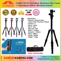 COMAN TM-227 AU0 Black, Aluminium Alloy Tripod + Tripod Bag for DSLR