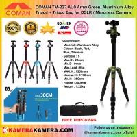 COMAN TM-227 AU0 Army Green Aluminium Alloy Tripod + Tripod Bag