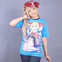 Nisekoi Light blue Anime Baju Kaos B