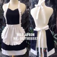 French maid apron hitam putih / celemek / kostum