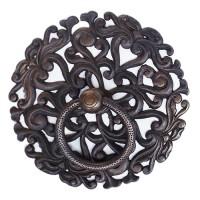 7 Handle Pintu Jati Gebyok Kuningan Asli - Round Curl Pierced