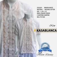 Terbaru Baju Koko Putih, Baku Koko Lengan Pendek Kasablanca - Putih, S