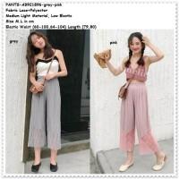 Celana Panjang Kulot Plisket Wanita Korea Import Crop Pants AB921896