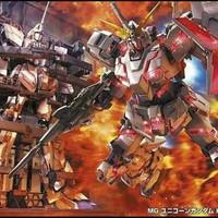 Bandai MG 1/100 Gundam Unicorn HD color + MS Cage & stand base