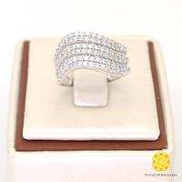 Cincin Emas Putih Batu Swarovski Model Wanita 18K Berat 6 gram Murah