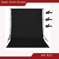 Paket Studio Foto Stand Tiang 3m Backdrop Hitam dan Putih Klip 6pcs