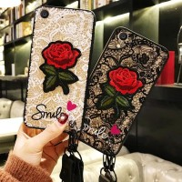 Case Oppo F3 3D Cover Flower Bordir Rose/Bunga Mawar Merah