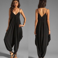 Baju pantai bali / maxi jumpsuit plain black