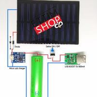Paket diy 5 in 1 Modul power bank panel surya solar cell