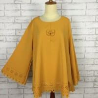 Baju Big Size Wanita Blouse Muslim Kuning Kunyit Mustard Fashion Cewek