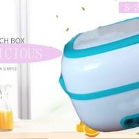 ( 2 Susun ) Mini Rice Cooker + Lunch Box Food Steamer + Egg Boiler - Biru