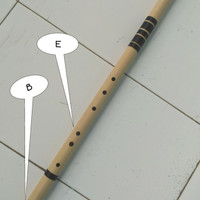 Bansuri Flute B/E low strip hitam