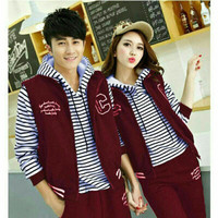 Couple jaket C hoodie strip