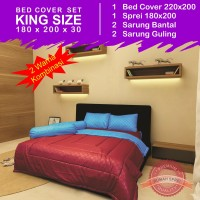 Bed Cover Set Polos 2 Warna - Maroon & Royal Blue (King Size 180x200)