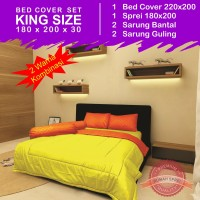 Bed Cover Set Polos 2 Warna - Yellow & Orange (King Size 180x200)