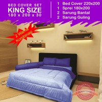 Bed Cover Set Polos 2 Warna - Sky Blue & Blue (King Size 180x200)