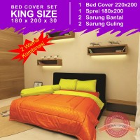 Bed Cover Set Polos 2 Warna - Orange & Yellow (King Size 180x200)