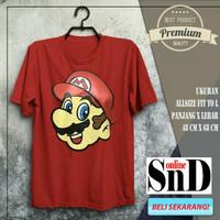 Baju Kaos Merah Super Mario Game Kartun Jadul Pria Wanita