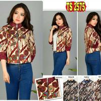 TS2575/ Jaket Outer Batik Wanita Katun Stretch Vega Modern Batik Coat